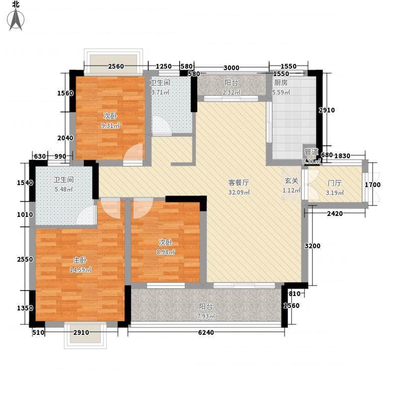 会龙山・溪谷121.45㎡F户型3室2厅2卫1厨