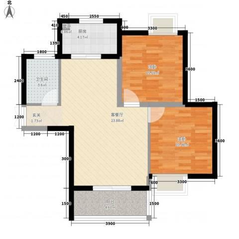 中宁花园2室1厅1卫1厨82.00㎡户型图