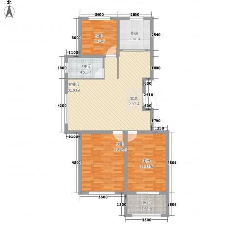 永和公馆3室1厅1卫1厨98.00㎡户型图