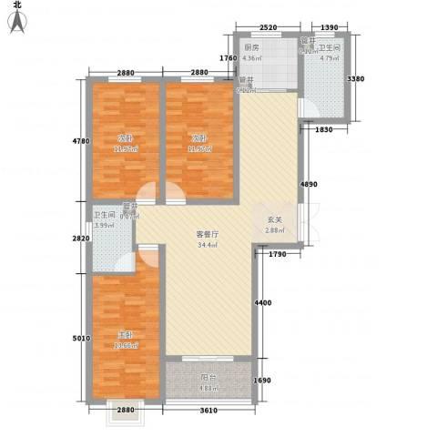 香水湾3室1厅2卫1厨90.32㎡户型图