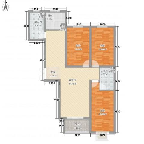 香水湾3室1厅2卫1厨128.00㎡户型图