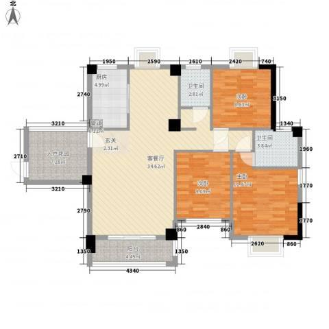 芸溪溪湖尚景3室1厅2卫1厨125.00㎡户型图