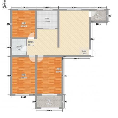 永和公馆3室1厅1卫1厨116.00㎡户型图