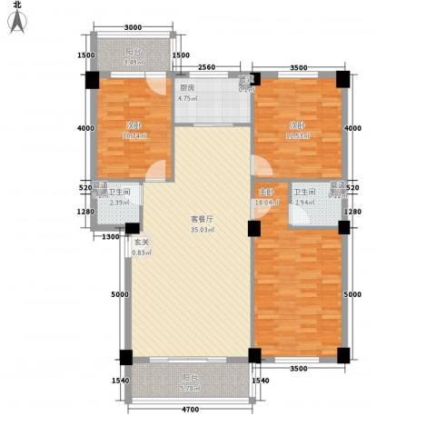 三秀新城3室1厅2卫1厨116.00㎡户型图