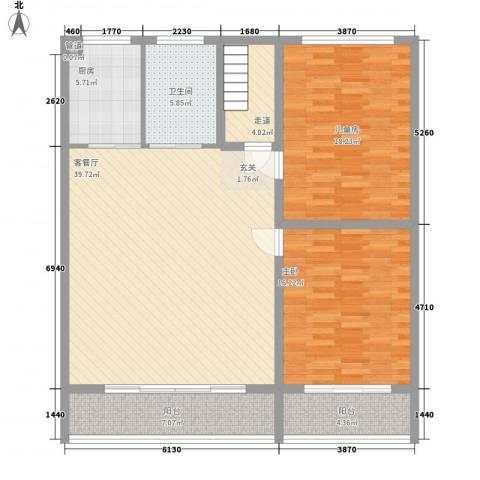 开关厂宿舍2室1厅1卫1厨143.00㎡户型图