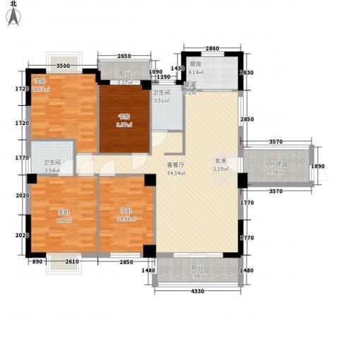 芸溪溪湖尚景4室1厅2卫1厨144.00㎡户型图