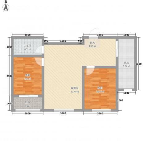 永和公馆2室1厅1卫1厨90.00㎡户型图