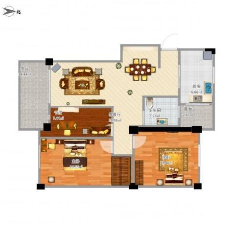 江南景苑2室1厅1卫1厨116.00㎡户型图