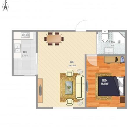 新星宇和邑1室1厅1卫1厨54.00㎡户型图