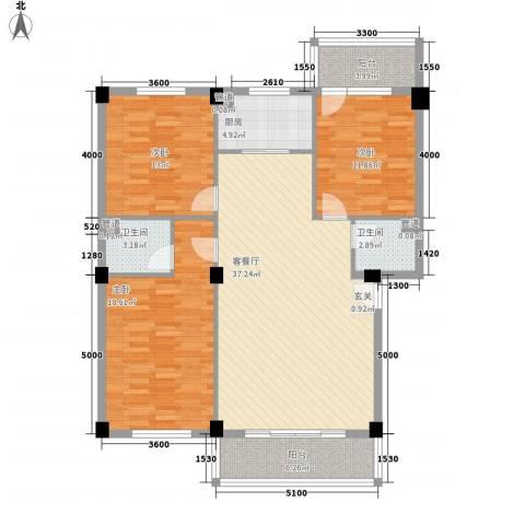 三秀新城3室1厅2卫1厨122.00㎡户型图