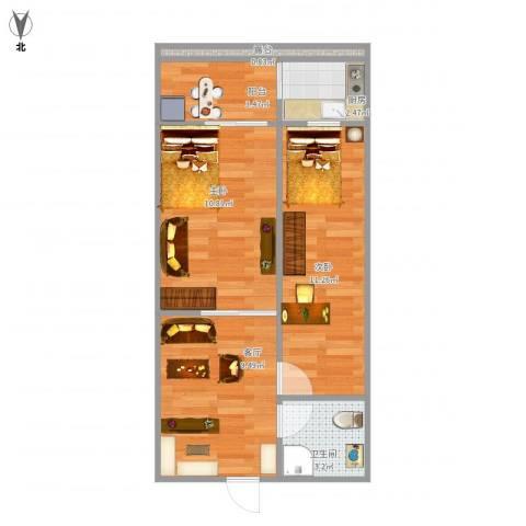 樱桃二条8号院2室1厅1卫1厨58.00㎡户型图