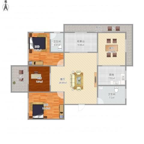 碧水华庭3室2厅2卫1厨161.00㎡户型图