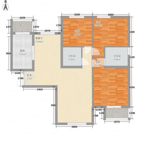 文鼎轩3室1厅2卫1厨116.00㎡户型图