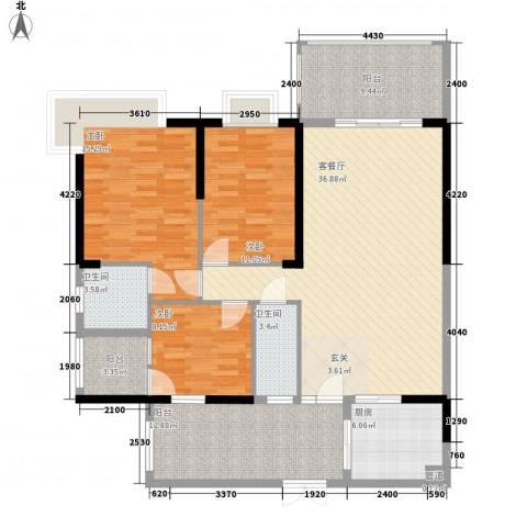 骏景豪庭3室1厅2卫1厨156.00㎡户型图