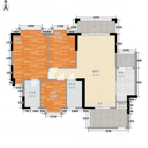 金碧苑3室1厅2卫1厨118.00㎡户型图