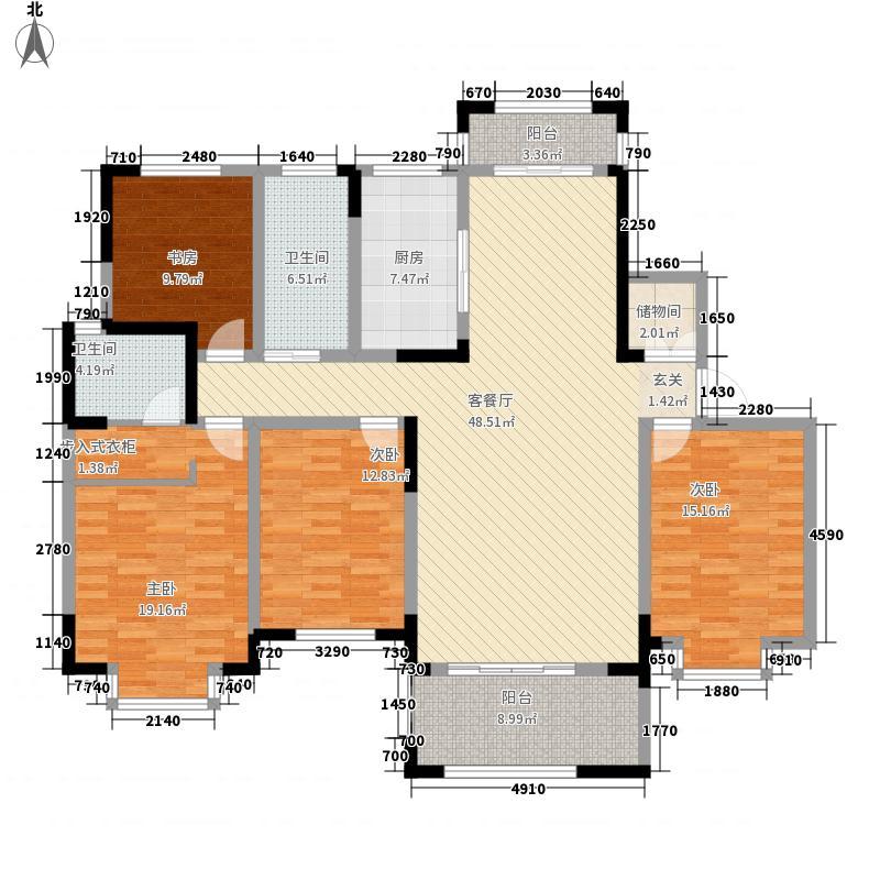万方金融广场173.30㎡6#A户型4室2厅2卫1厨