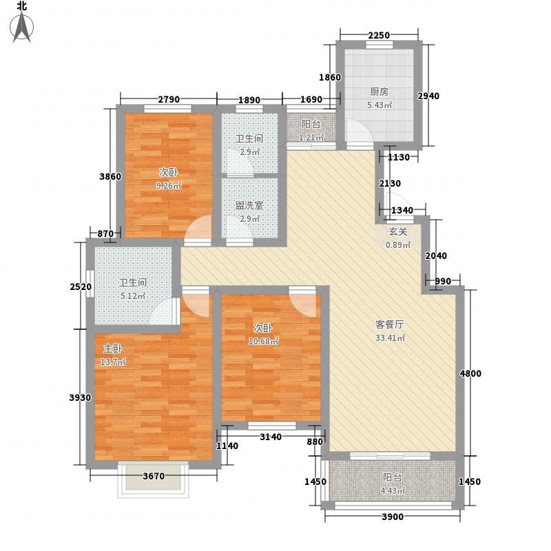 奥兰天和家园13.10㎡C-13001户型3室2厅2卫1厨