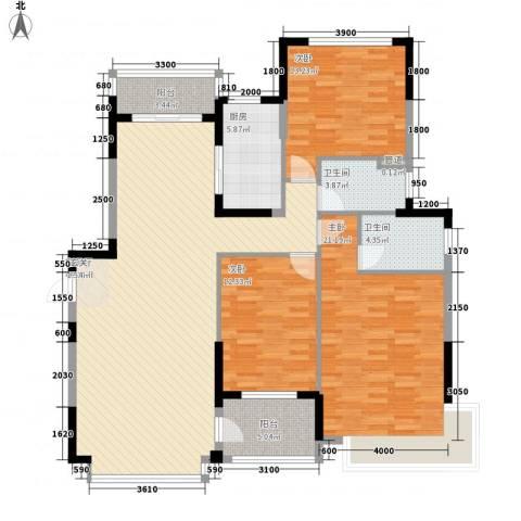 恒大华府3室1厅2卫1厨161.00㎡户型图