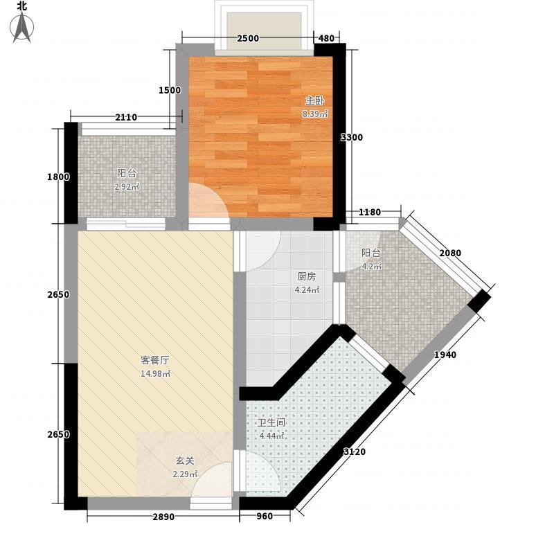 梓山湖领御58.60㎡F1#户型1室2厅1卫1厨