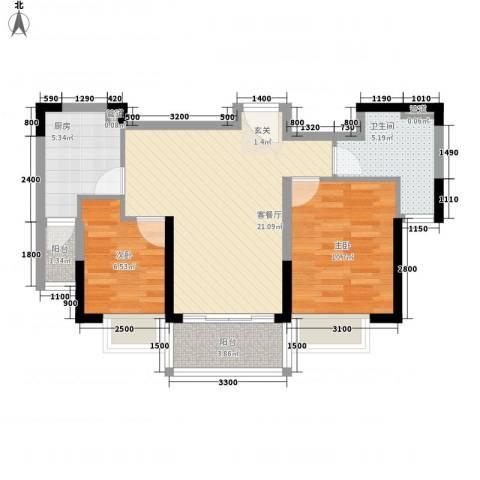 恒大御景半岛2室1厅1卫1厨82.00㎡户型图