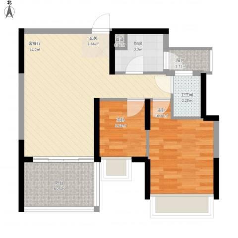 金地梅陇镇二期2室1厅1卫1厨75.00㎡户型图