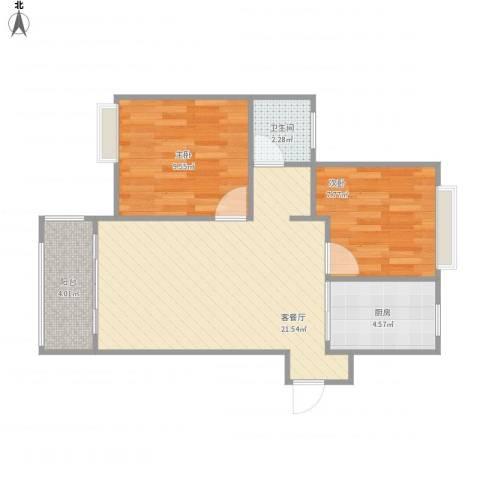 旭辉悦庭2室1厅1卫1厨68.00㎡户型图