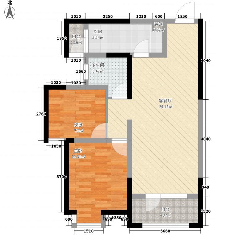 枫林天下5.00㎡高层B户型2室2厅1卫1厨