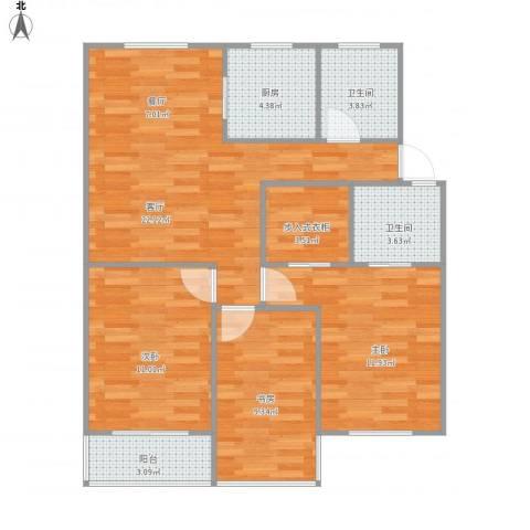 流水苑3室1厅2卫1厨99.00㎡户型图