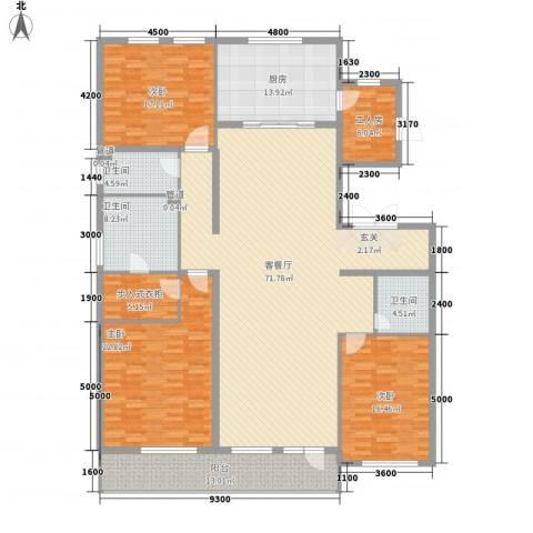 万晟清华园3室1厅3卫1厨254.00㎡户型图
