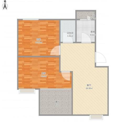 丽泽兰馨苑47号0602室80平送露台2室1厅1卫1厨88.00㎡户型图