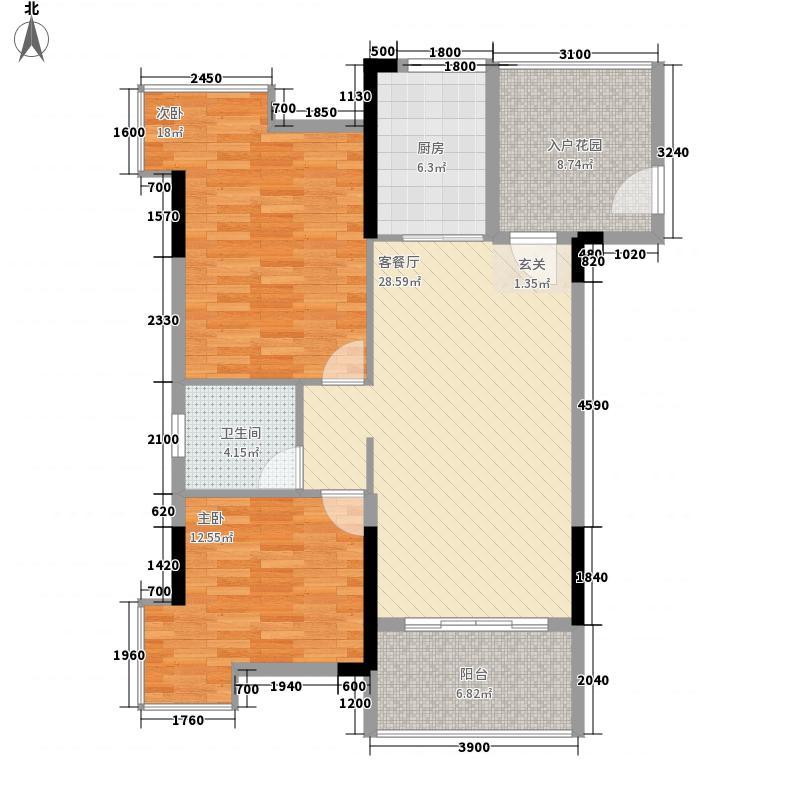 银盛花园银盛花园A2户型2室2厅1卫82㎡户型2室2厅1卫