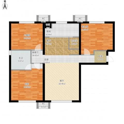 万科新里程3室1厅2卫3厨140.00㎡户型图