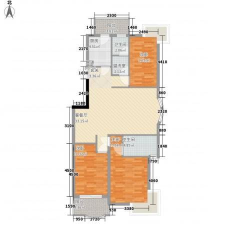 齐鲁骏园3室2厅2卫1厨127.00㎡户型图