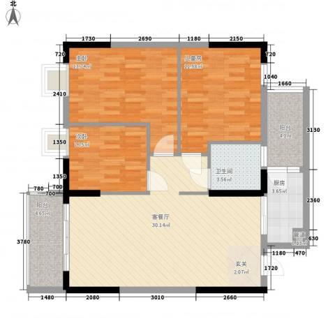 骏景豪庭3室1厅1卫1厨79.69㎡户型图