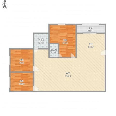 龙岱花园3室1厅2卫1厨84.00㎡户型图