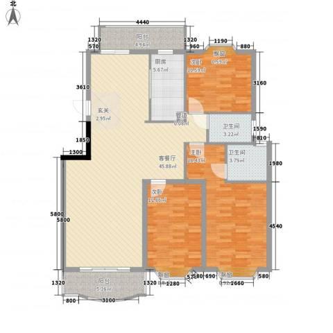 齐鲁骏园3室1厅2卫1厨154.00㎡户型图
