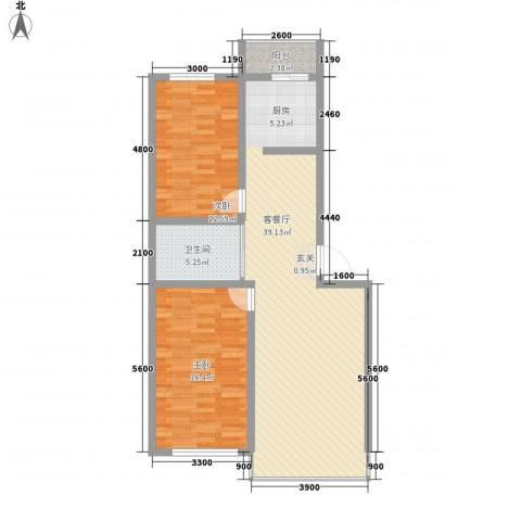 中新花园2室1厅1卫0厨112.00㎡户型图