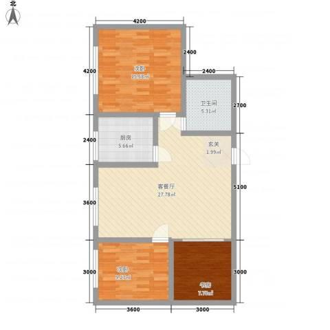 泰伦特酒店商务公寓3室1厅1卫1厨71.49㎡户型图