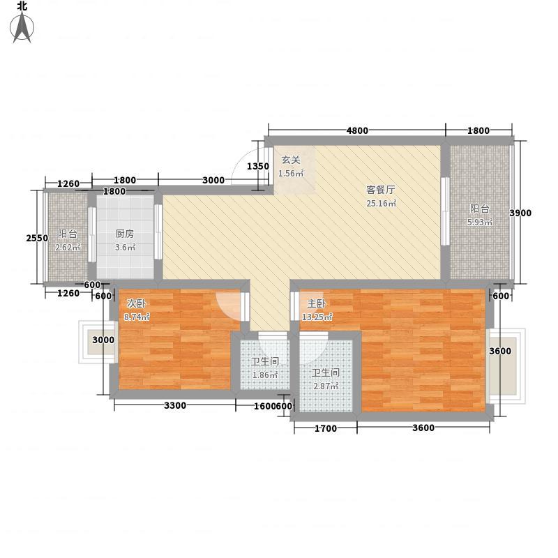 红地一米阳光88.00㎡红地一米阳光一米阳光G1户型图3室2厅2卫1厨88.00㎡户型3室2厅2卫1厨