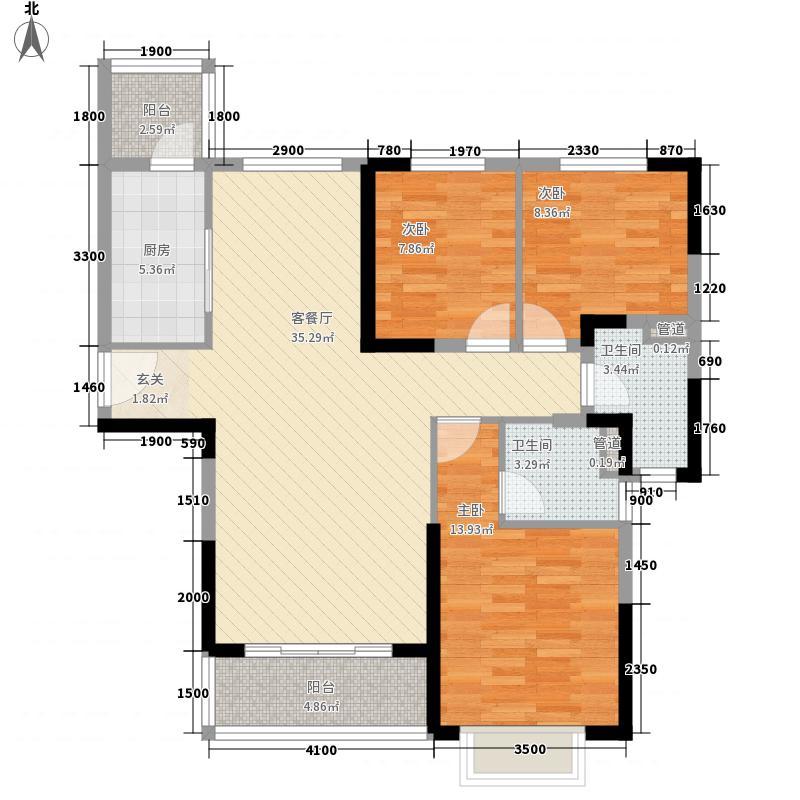 恒大御景半岛127.00㎡19#楼1号户型3室2厅1卫1厨