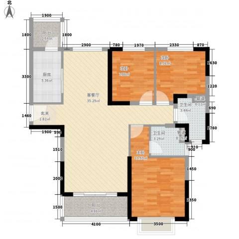 恒大御景半岛3室1厅2卫1厨127.00㎡户型图
