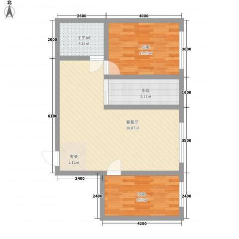泰伦特酒店商务公寓2室1厅1卫1厨76.00㎡户型图