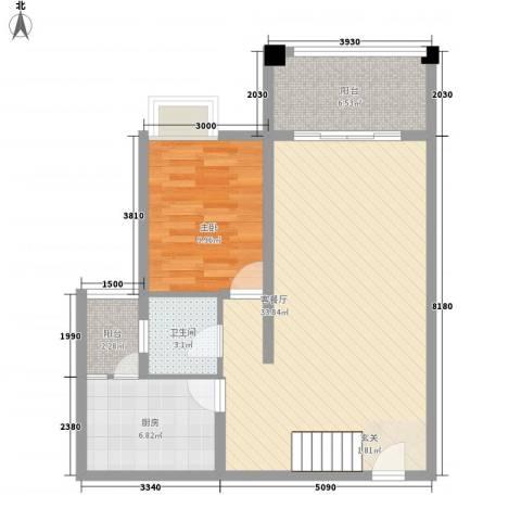 南天・星月国际广场1室1厅1卫1厨62.53㎡户型图