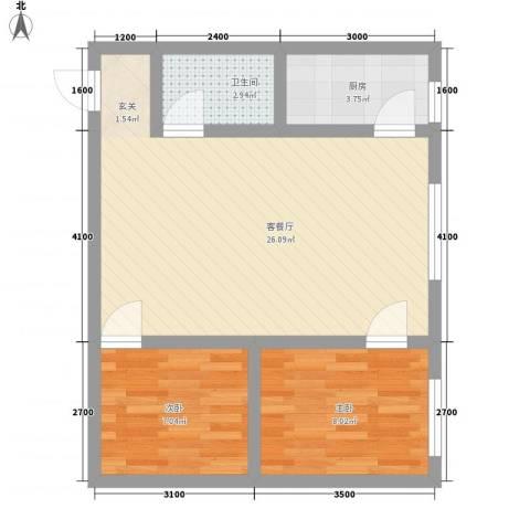 泰伦特酒店商务公寓2室1厅1卫1厨67.00㎡户型图