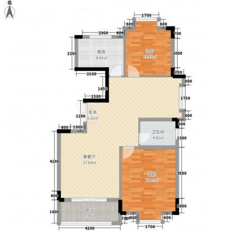 嘉美大厦2室1厅1卫1厨109.00㎡户型图