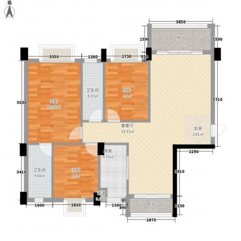 富景花园3室1厅2卫1厨112.00㎡户型图