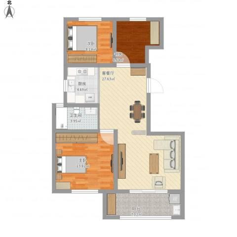 书香名府3室1厅1卫1厨104.00㎡户型图