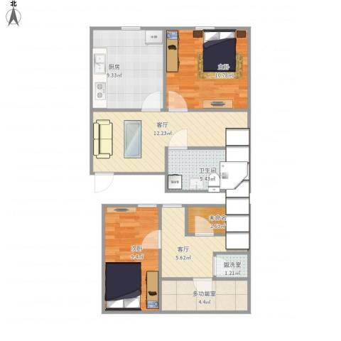 青年居易3-1-6022室3厅1卫1厨84.00㎡户型图