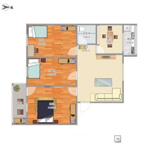 金牛小区3号楼3室2厅1卫1厨98.00㎡户型图