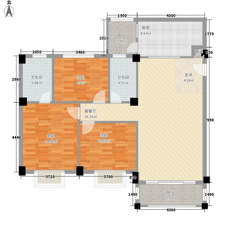华茵・绿洲118.00㎡1幢01单元户型3室2厅2卫